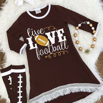 """LIVE, LOVE FOOTBALL"" HI-LOW FRINGE DRESS"