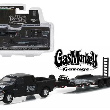 "2016 Dodge Ram 2500 Pickup Truck and Heavy Duty Car ""Gas Monkey Garage"" (2012-Current TV Series) Hitch & Tow Series 8 1-64 Diecast Model Car by Greenlight"