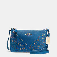 MINIstuds zip top crossbodyin pebble leather