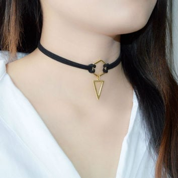 2016 New Trend Hot Fashion Black Leather Choker Necklace Wrap Gold Plated Geometry With Triangle Pendant For Women Girls