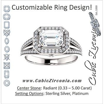 Cubic Zirconia Engagement Ring- The Hanna Jo (Customizable High-set Radiant Cut Design with Halo, Wide Tri-Split Pavé Band and Round Bezel Peekaboo Accents)