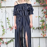 High Waisted Striped + Front Slit Pants {Navy}