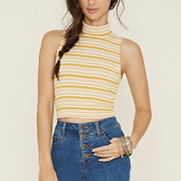 Mock Neck Striped Crop Top | Forever 21 - 2000186111