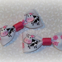 Baby Cow Bows ~ Pink & White Bows ~ Tiny Baby Bows ~ Infant Newborn Bows ~ Tiny Pink Bows ~ Farm Girl Bows ~ Country Girl Bows ~ 2 in Bows