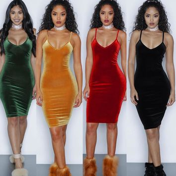velvet dress women 2017 new fashion sexy bodycon v neck sleeveless solid evening party mini dresses ladies vestidos 1206