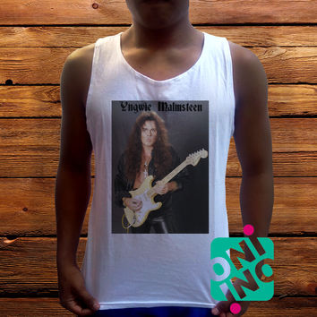 Yngwie Malmsteen Men's White Cotton Solid Tank Top