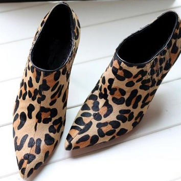 Leopard Print Platform Pointed Toe Ankle Boots Shoes Women Tb092106