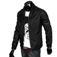 Amazon.com: Allegra K Mens Ribbed Cuff Long Sleeve Leather Look Bomber Jacket Black: Clothing