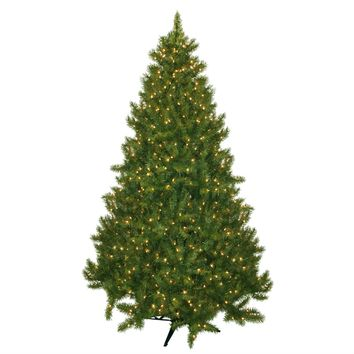 7.5 Foot Green Fir Realistic Artificial Christmas Tree with 700 Clear White LED Lights