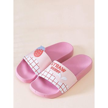 Cartoon Mango & Letter Graphic Shower Slippers
