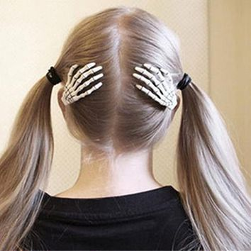 1 Pair Fashion Skull Hand Bone Hairpin Gripper Ghost Skeleton Hair Clips Hairclips