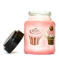 Candy Jar Pink Decoupage Jar Cookies Jar Painted in by BeauMiracle