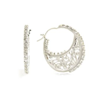 Small Sterling Silver Hoop Earrings with Signature Design with Quartz