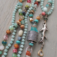 Knotted multi color long necklace - BeachComber - semi precious stone artisan sterling silver leather tassel beach boho by slashKnots