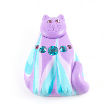Cute Cat Brooch Kitsch Kawaii Lilac Purple Teal Swirl Sparkly Gems / Vintage 80s