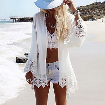 Women's Halter One-pieces / Cover-Ups,Solid One-Pieces Polyester / Roman Knit White