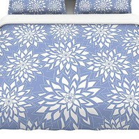"KESS InHouse JG1071ACD03 Julia Grifol ""Blue Garden"" King Cotton Duvet Cover, 104"" x 88"""