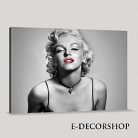 Marilyn Monroe Canvas Print | Marilyn Monroe Art Canvas Painting | Black and Red, Gray  Large Canvas Print