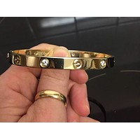 Cartier Love Bangle 18ct Solid Diamonds ( four )Yellow Gold Cartier Size 19
