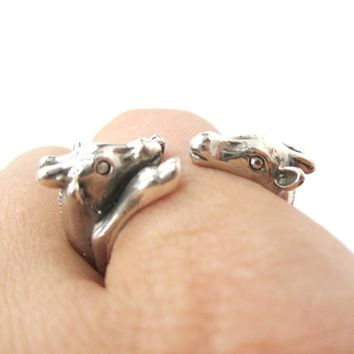 Giraffe Mother and Baby Shaped Animal Wrap Ring in 925 Sterling Silver | US Sizes 5 to 8.5