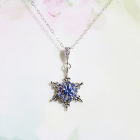 Sale - Snowflake Necklace Sapphire Blue Rhinestone Snowflake Necklace Winter Wedding Birthday Gift Idea Prom Party