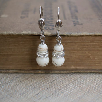 Howlite Earrings. White Turquoise and Rhinestones Drop Earrings. Stone Jewelry. White Jewelry