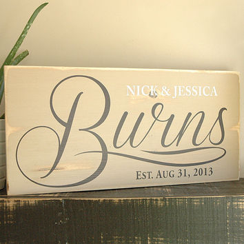 Handmade Family Established Sign, First Name Last Name Sign, Est. Sign, Rustic Wood Sign Finish