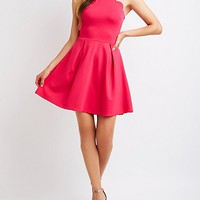 Scalloped Bib Neck Skater Dress | Charlotte Russe