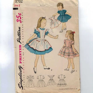 1950s Vintage Girls Sewing Pattern Simplicity 3702 Alice in Wonderland Dress and Pinafore Size 1 Breast 20
