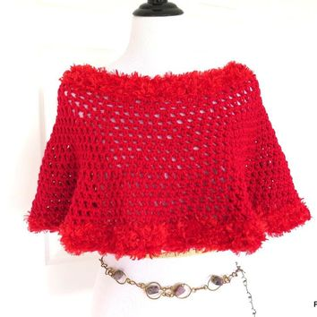 Bright Red Crochet Poncho with Fur Trim, Gift for Her