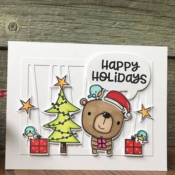 Christmas Bear Transparent Clear Silicone Stamp Set for DIY Scrapbooking/Photo Album Decorative Cards Making Clear Stamps 4x4in