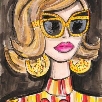 Yellow Glasses Girl Watercolor Painting