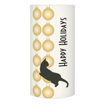 Gold Christmas Ornament and Playful Cat Modern Flameless Candle