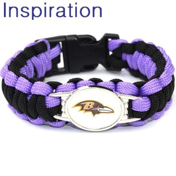 Outdoor Camping Jewelry 1pc of Baltimore Ravens Paracord Bracelet 23cm Woven Paracord Survival Bracelet Dropshipping