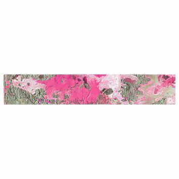 """Ebi Emporium """"DISTANT SHORES, MAGENTA PINK"""" Magenta Pink Abstract Modern Painting Mixed Media Table Runner"""