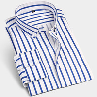 Men's Contrast Color Stripes Dress Shirt Comfort Soft Slightly elastic Business Slim-fit Long Sleeve Button-down Shirts