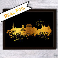 Washington DC skyline real foil print Skyline gold foil poster Washington DC cityscape art poster Home decoration Office wall decor G34