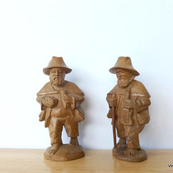 Carved Wooden Men Hiking Traveling Musicians German Folk Art Carved Wood Figurine Backpacking Men