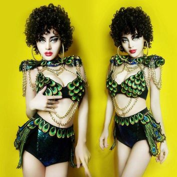 DCCKH6B Female Pop Singer Costume New Stylish Peacock Design Sequin Nightclub DJ Sexy Hiphop costumes ds  Clothing bar