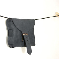Leather belt bag, dark anthracite, black nubuck leather, handcrafted men's and women's hip bag, smooth leather
