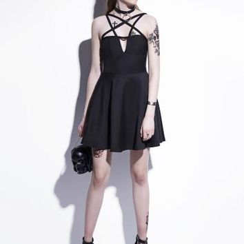 Black Cross Body Women's Day Dress