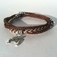 Horse Hair Bracelet with Silver Pistol Charm