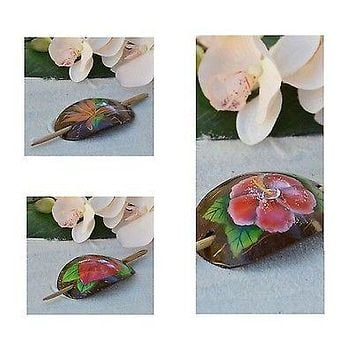 Real Coconut Shell Hair Clip Anthurium, Birds of Paradise or Hibiscus