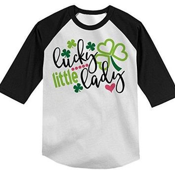 Shirts By Sarah Boy's Funny ST. Patrick's Day T-Shirt Lucky Little Lady Clover Raglan Tee