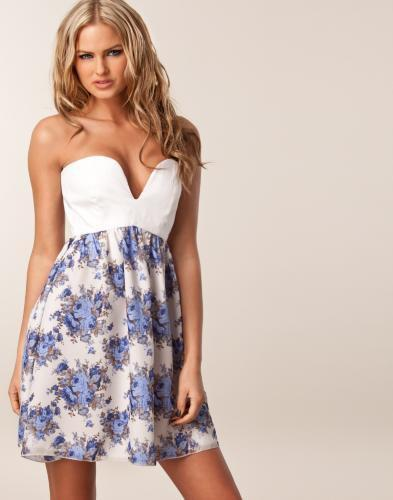 Binky Corset Dress - Hedonia - Blue patterned - Party dresses - Clothing - NELLY.COM Fashion on the net