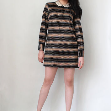 Vintage 70s Mini Dress Missoni Style Knit Dress Micro Mini Party Dress - Size Small