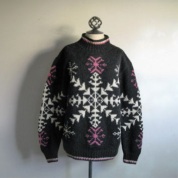 80s WOOLRICH Snowflake Sweater Vintage 1980s The Woolrich Woman Gray White Pink Knit Pullover Jumper XLarge