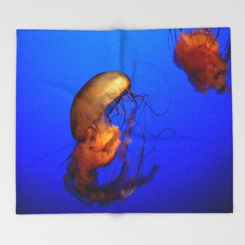 Blue Jellyfish Throw Blanket by UMe Images
