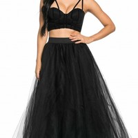 Structured Maxi Tulle Skirt in Black (Plus Sizes Available)