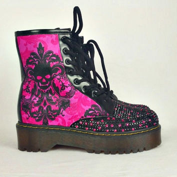 Pink skull boots , Custom Gothic Boots, Pink Bling Boots, Boho Shoes, pink and black skull shoes, women shoes, Alternative rockabilly shoes
